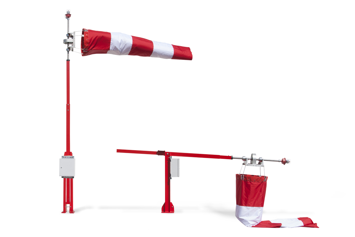 Heliport windsock with integrated lighting system: LED light. White Steady.